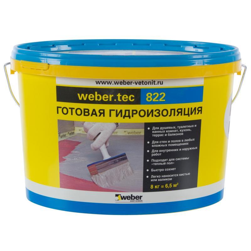Vetonit Weber.Tec 822, 24 кг, Гидроизоляция высокоэластичная полимерная розовая