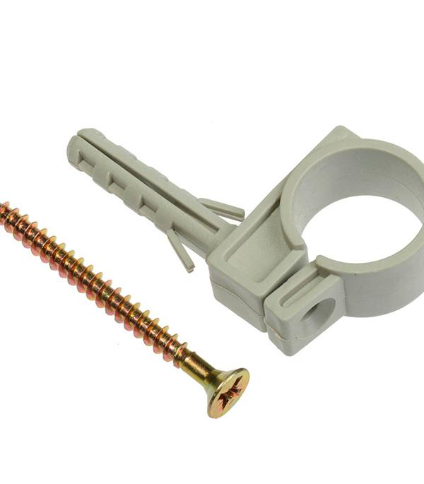 Хомут сантехнический 20-22 мм пластик с дюбелем для крепления трубы (5 шт)