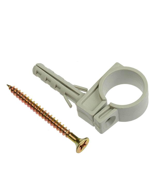 Хомут сантехнический 25-27 мм пластик с дюбелем для крепления трубы (5 шт)