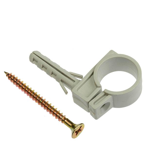Хомут сантехнический 16-18 мм пластик с дюбелем для крепления трубы (5 шт)