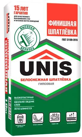 Купить Шпатлевка гипсовая финишная Unis (белая), 20 кг — Фото №1
