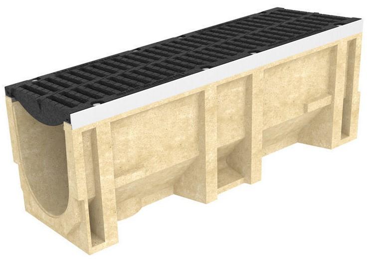 Лоток водоотводный Standartpark полимербетонный с решеткой щелевой чугунной CompoMax ЛВ–30.38.41-П, 1000х385х410 мм (комплект)