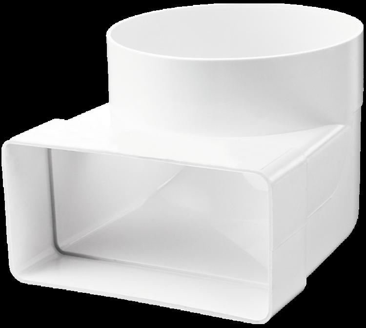 Купить Отвод переходной для вентиляционных коробов 55х110/100 мм Вентс 521, угол 90°