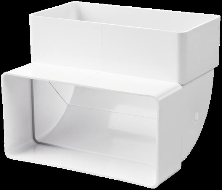 Купить Отвод вертикальный для вентиляционных коробов 55х110 мм Вентс 5252, угол 90°
