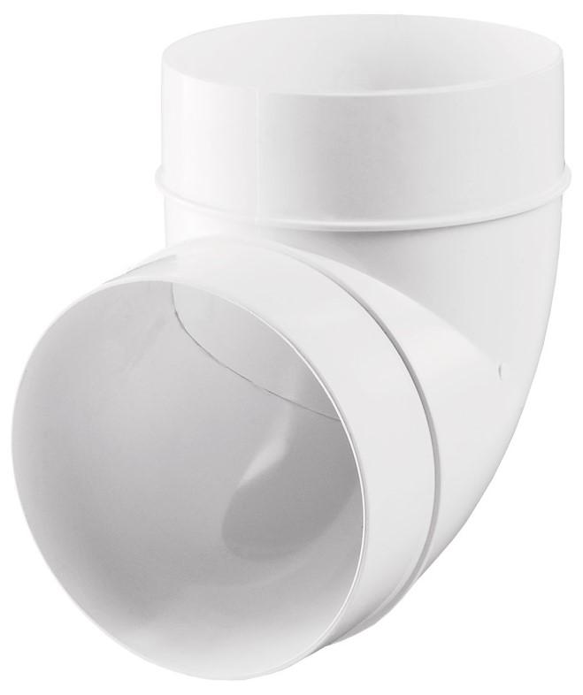 Купить Отвод круглый для вентиляционных труб 100 мм Вентс Пластивент 121, угол 90°