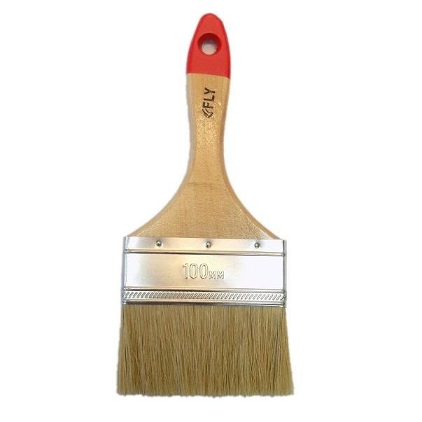 Купить Кисть плоская с деревянной рукояткой и натуральной щетиной, ширина 100 мм — Фото №1