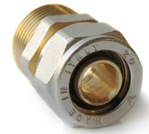 Муфта латунная переходная компрессионная Pro Aqua 20х3/4″, наружная резьба