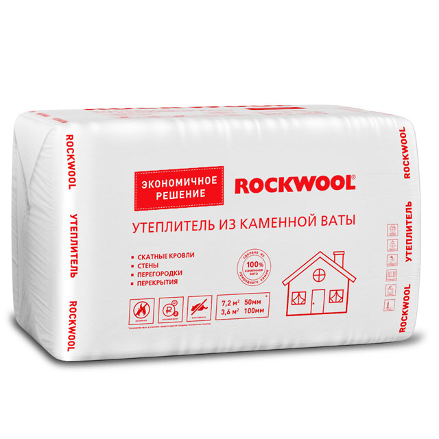 Купить Минеральная вата Rockwool Эконом 1000х600 мм, толщина 50 мм (8 плит в упаковке) — Фото №1