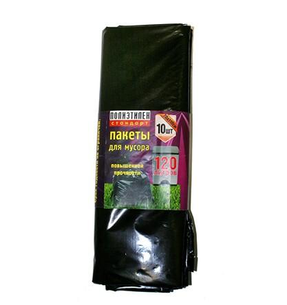 Купить Мешки для мусора черные 70x110 см, 120 л (10 шт) — Фото №1