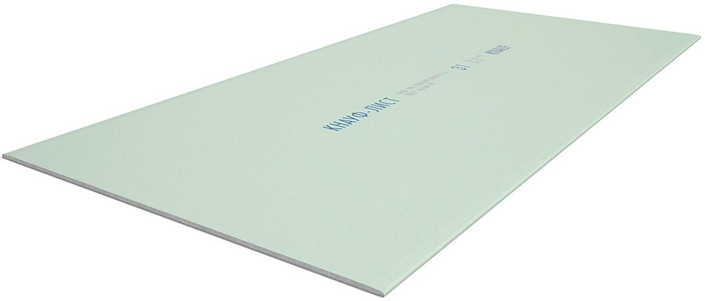 Купить Гипсокартон влагостойкий ГКЛВ Кнауф, 1500х600х12.5 мм — Фото №1