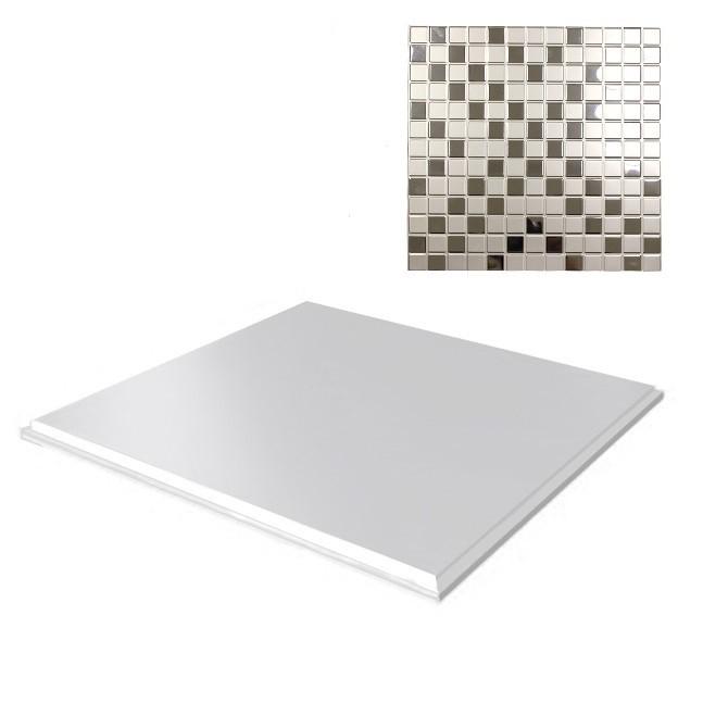 Потолок кассетный объемный Cesal К90 Мозаика 046D (серебряный), 300х300 мм
