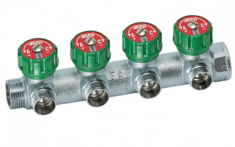 Купить Коллектор проходной Far с 4 отводами, 3/4″х1/2″ — Фото №1