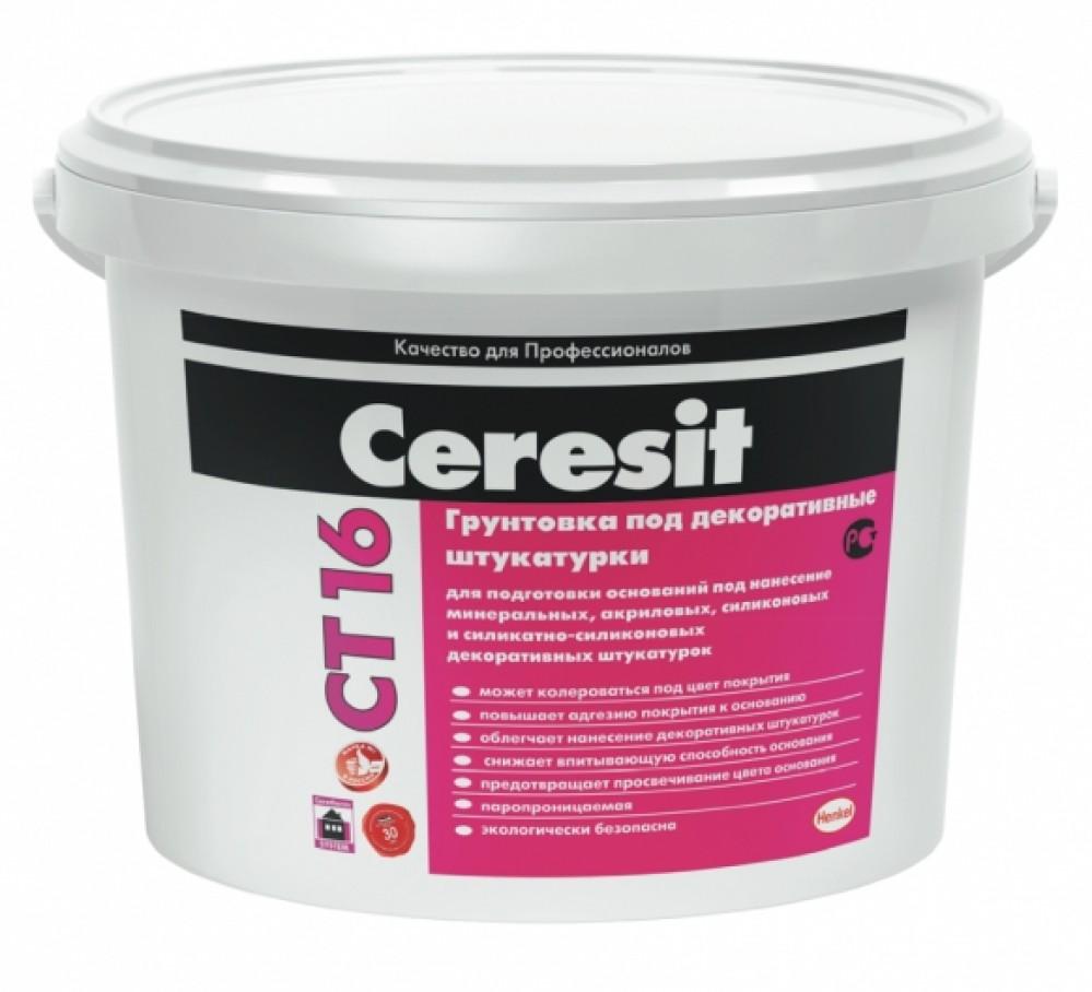 Купить Грунтовка под декоративные штукатурки Ceresit CT 16 (белая), 10 л — Фото №1
