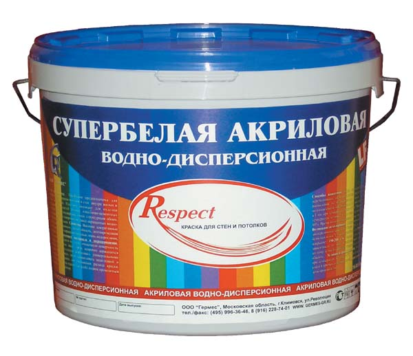 Купить Краска интерьерная акриловая Respect (супербелая), 40 кг — Фото №1