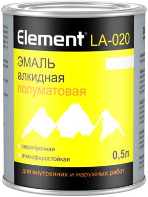 Эмаль алкидная полуматовая сверхпрочная атмосферостойкая Alpa Element LA-020, 500 мл
