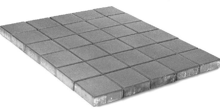 Braer Лувр Квадрат, 100х100х60 мм, Плитка тротуарная серая