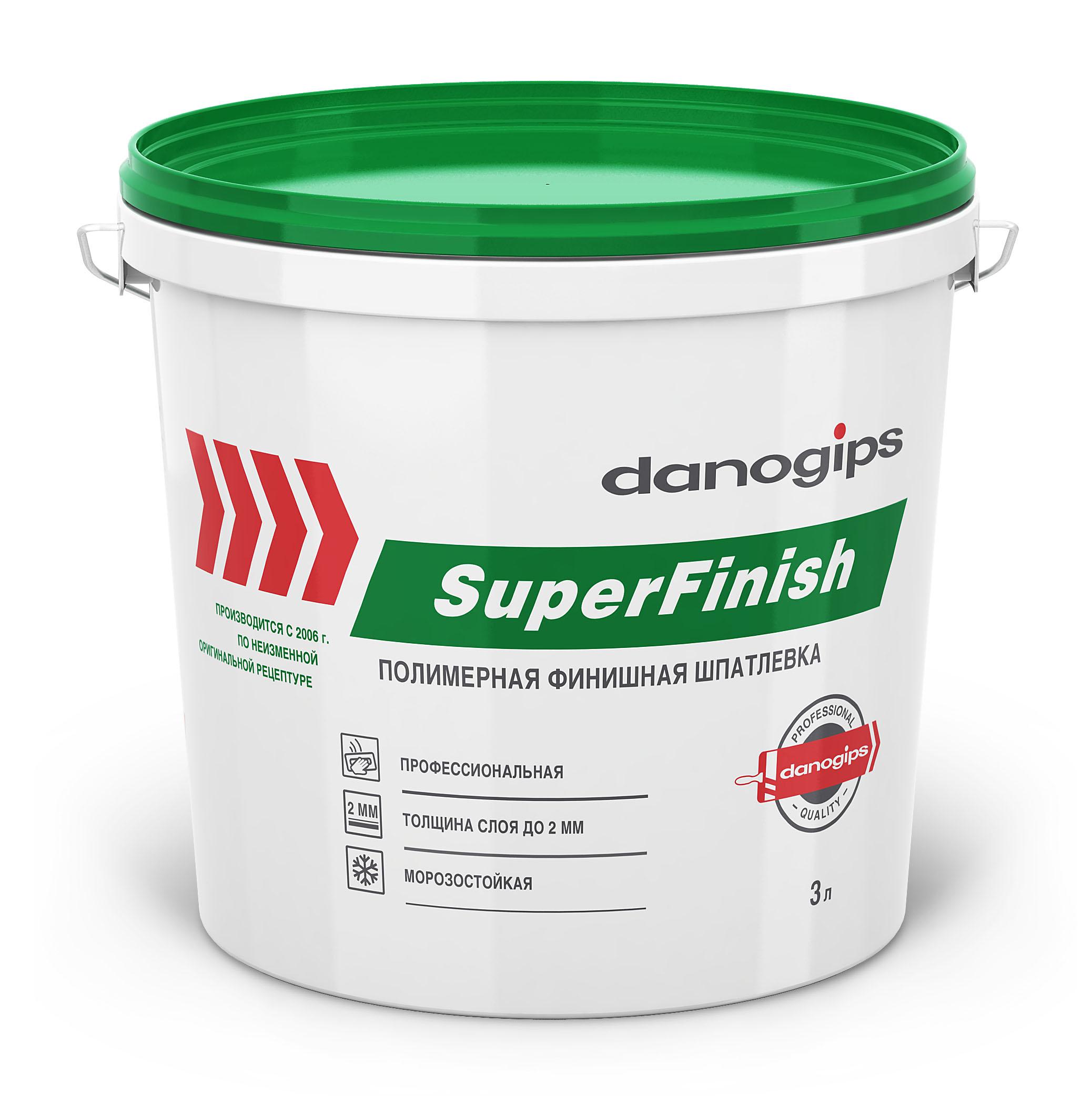 Купить Шпатлевка готовая финишная Danogips SuperFinish, 3 л — Фото №1