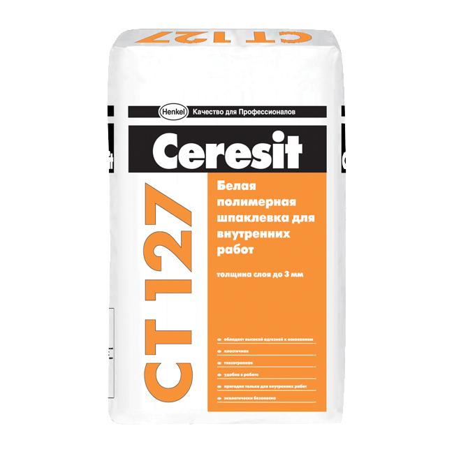 Купить Шпатлевка полимерная финишная Ceresit CT 127 (белая), 25 кг — Фото №1
