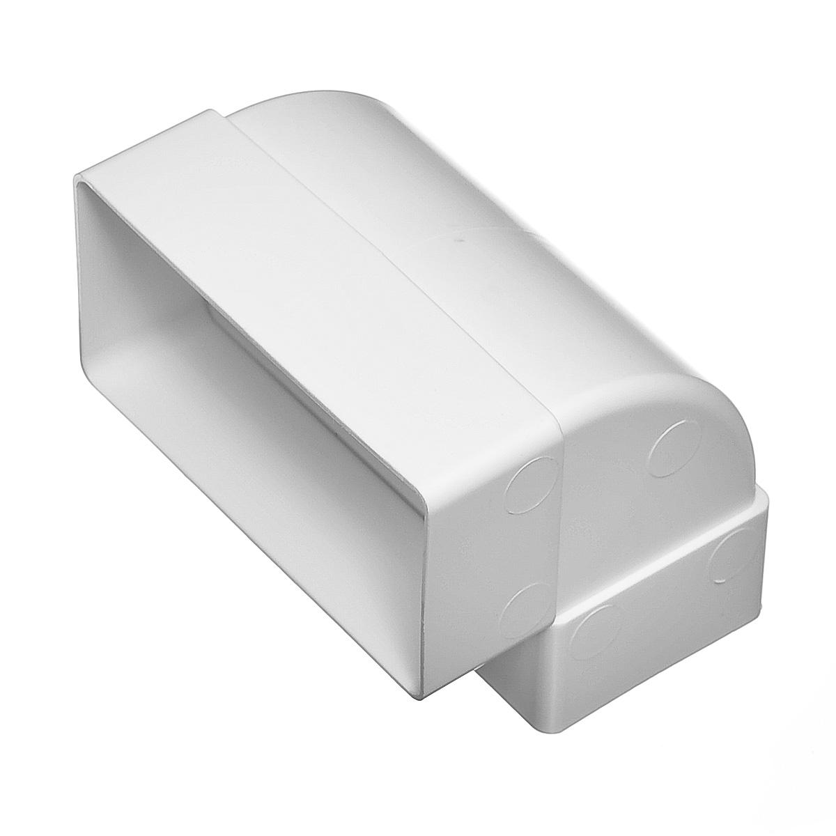 Купить Отвод вертикальный для вентиляционных коробов пластиковый 55х110 мм, угол 90° — Фото №1