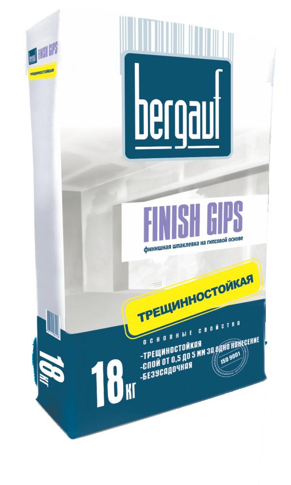 Шпатлевка гипсовая финишная Bergauf Finish Gips (белая), 18 кг