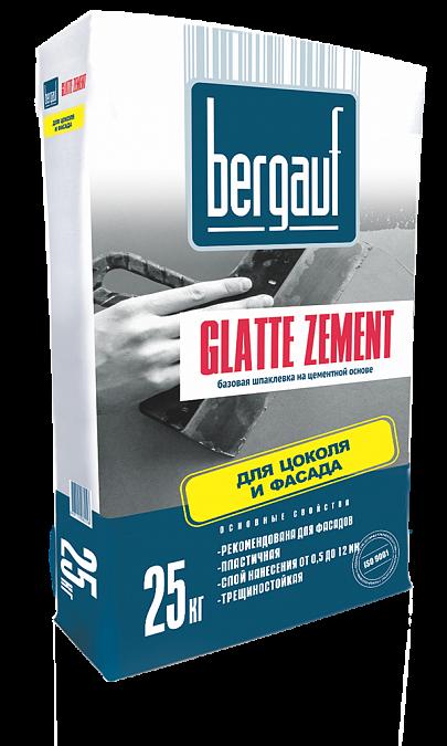 Шпатлевка цементная фасадная Bergauf Glatte Zement (серая), 25 кг
