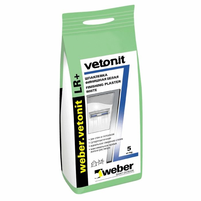 Купить Шпатлевка полимерная финишная Weber.Vetonit LR + (белая), 5 кг — Фото №1