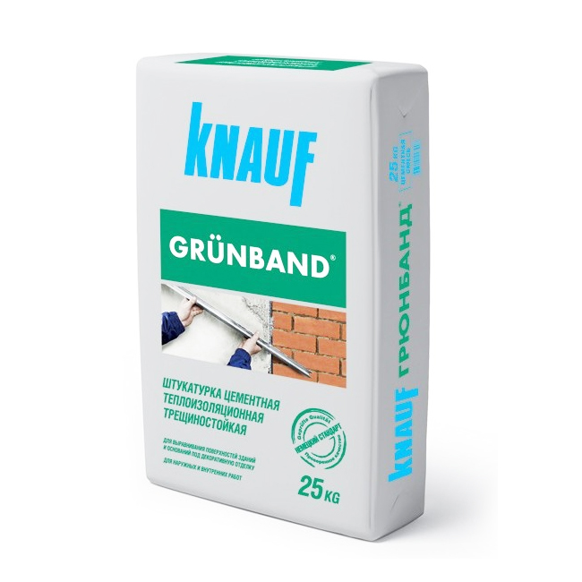 Купить Штукатурка фасадная Knauf Грюнбанд (серая), 25 кг — Фото №1