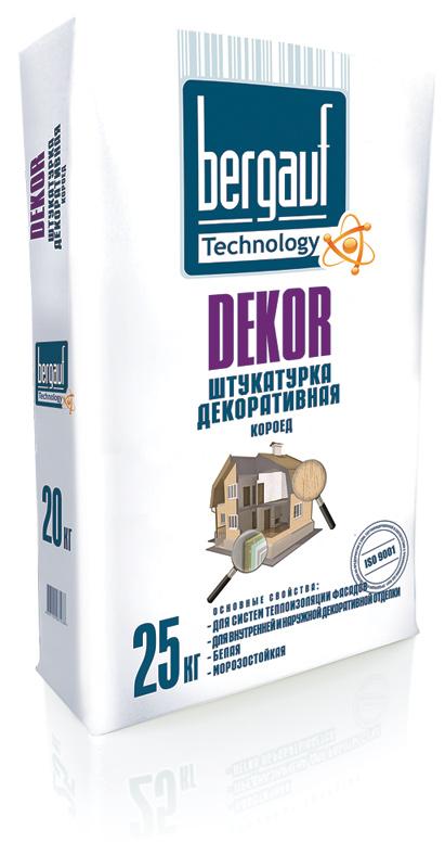 Штукатурка декоративная цементная Bergauf Dekor (короед, белая), 25 кг