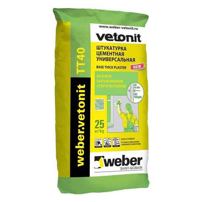 Купить Штукатурка Weber.vetonit TT40 (серая), 25 кг — Фото №1