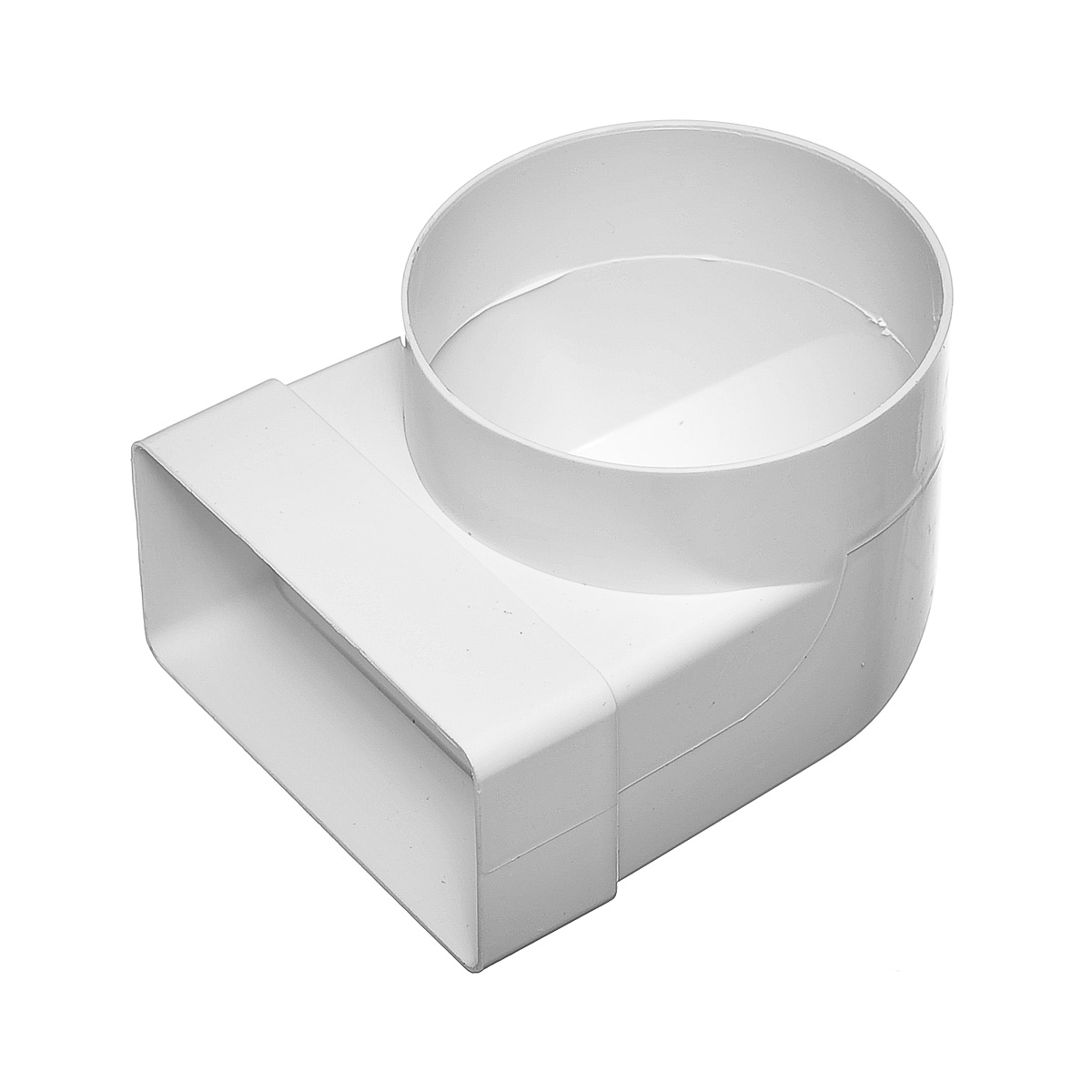 Купить Переход угловой 90º пластиковый для вентиляционных коробов 55х110 мм с круглыми D100 мм — Фото №1
