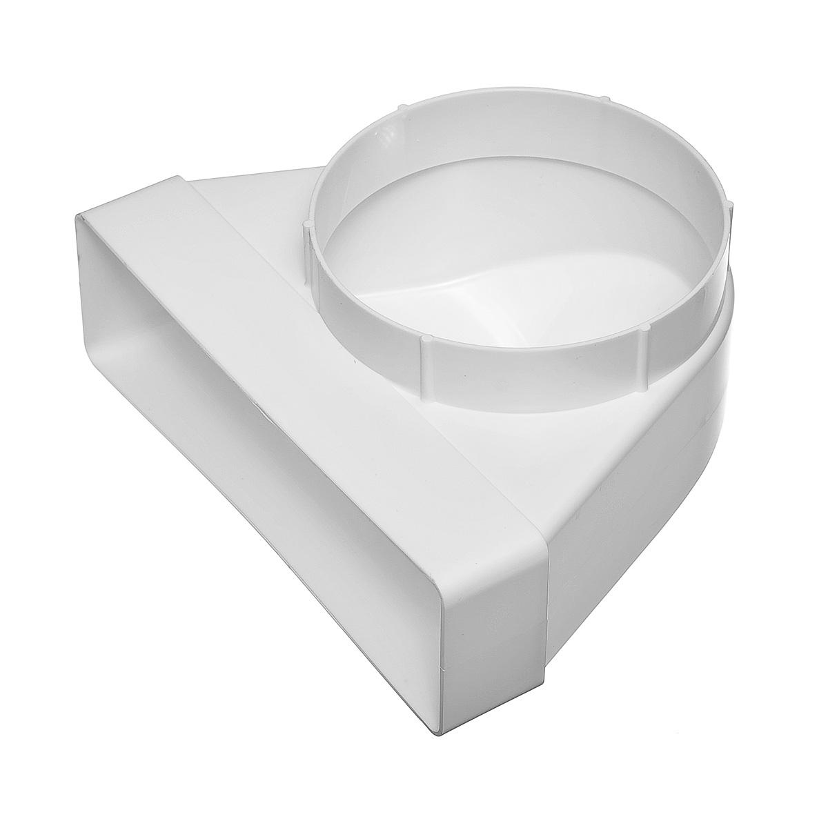 Купить Переход угловой 90º пластиковый для вентиляционных коробов 60х204 мм с круглыми D125 мм — Фото №1
