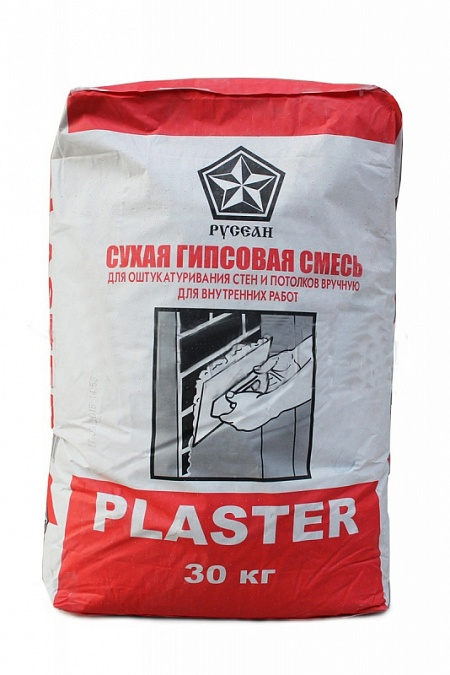Купить Штукатурка гипсовая пластичная Русеан Plaster (серая), 30 кг — Фото №1