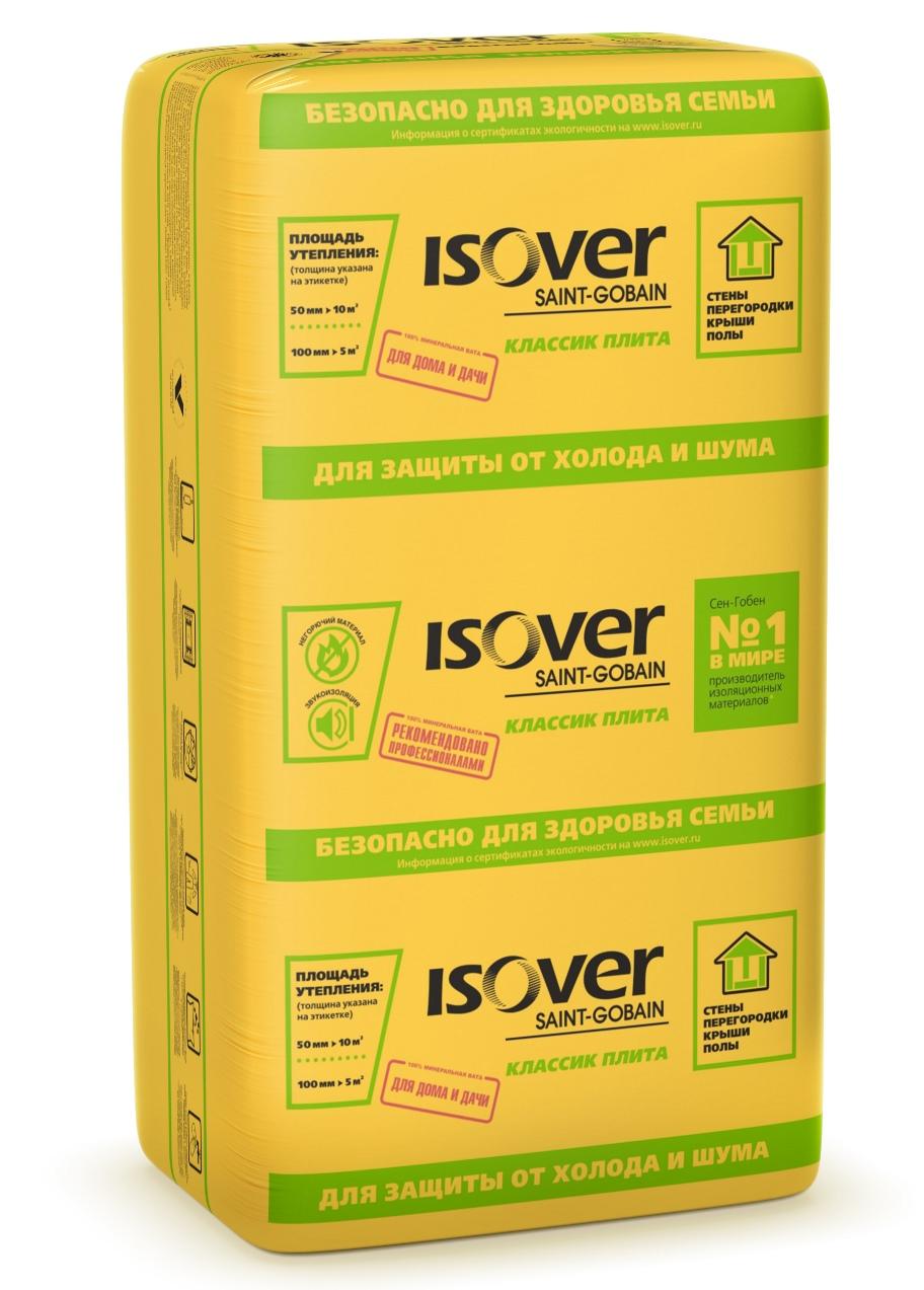 Купить Минеральная вата Isover Классик Плита 1170х610 толщина 100 мм (7 шт/5 м2) — Фото №1