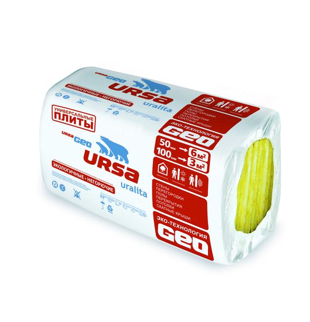 Купить Утеплитель Ursa Geo Универсальные плиты, 1000х600х50 мм (10 плит/6 м²) — Фото №1