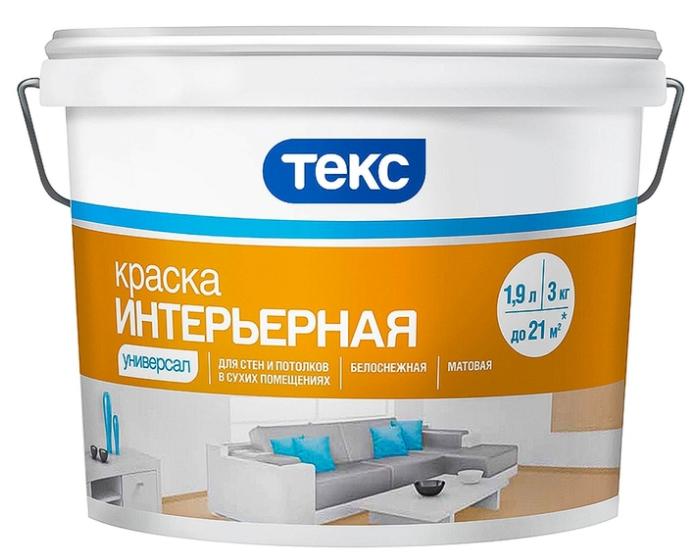Купить Краска интерьерная водно-дисперсионная Текс Универсал (белая), 3 кг — Фото №1