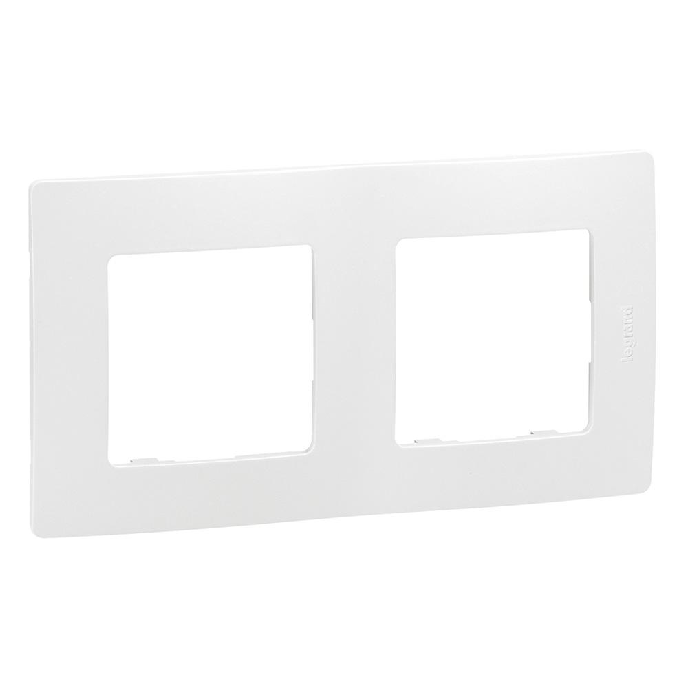 Белая), рамка декоративная двухместная универсальная