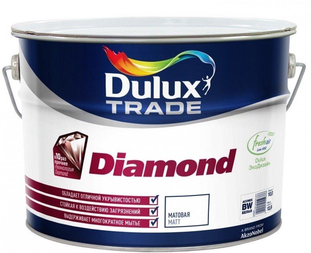 Купить Краска интерьерная латексная Dulux Diamond Matt (белая матовая), 5 л — Фото №1