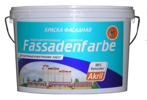 Купить Краска фасадная акриловая Гермес Fassadenfarbe (супербелая), 40 кг — Фото №1
