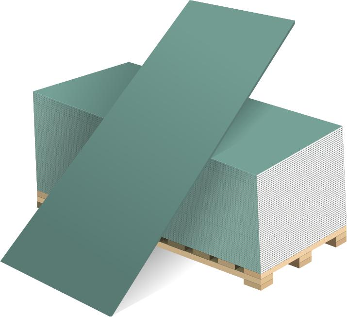 Купить Гипсокартон влагостойкий ГКЛВ Волма, 2500х1200х9.5 мм — Фото №1