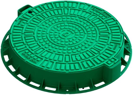 Купить Люк садовый пластиковый Standartpark Лого Л-60.80.10-ПП (зеленый), диаметр 680 мм — Фото №1