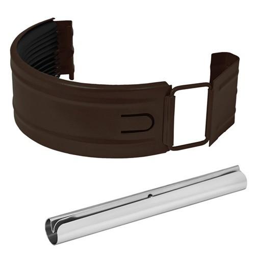 Купить Соединитель желоба с резиновым уплотнителем Aquasystem RR 32 (темно-коричневый), диаметр 125/90 мм — Фото №1