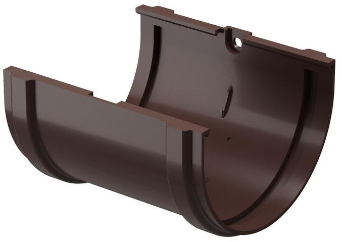 Купить Соединитель желоба ПВХ Docke Standart (темно-коричневый), диаметр 120/80 мм — Фото №1