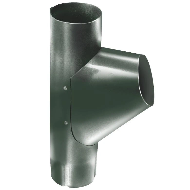 Купить Тройник водосточной трубы оцинкованный Grand Line RR 11 (темно-зеленый), диаметр 125/90 мм — Фото №1