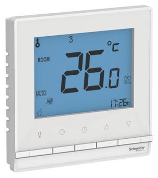 Термостат электронный программируемый с датчиком пола в сборе с рамкой ATN000138 Schneider Electric AtlasDesign белый