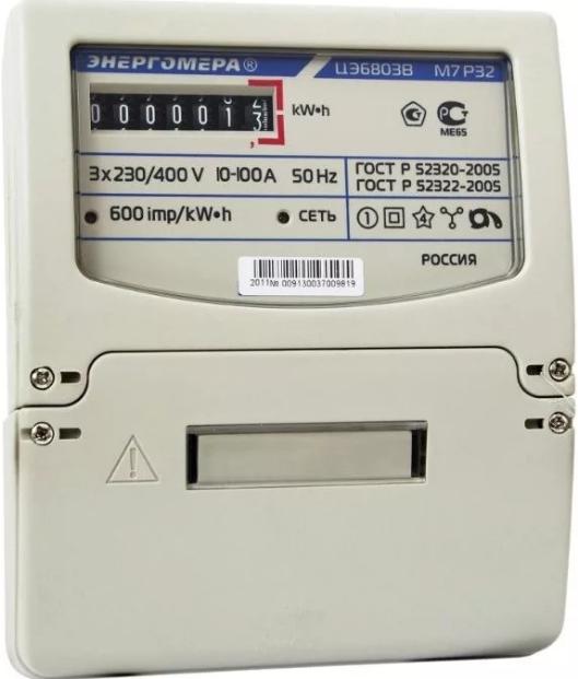 Счетчик электроэнергии трехфазный однотарифный Энергомера ЦЭ6803В Р32, 10-100А