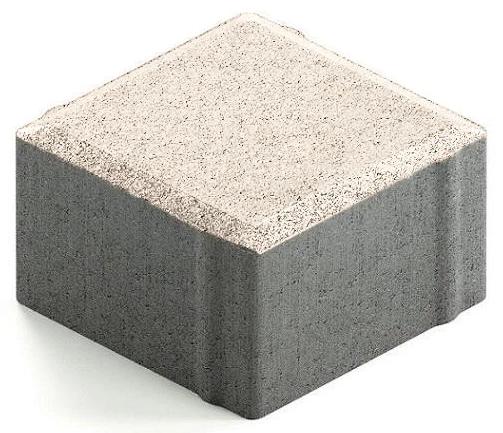 Купить Плитка тротуарная Steingot Практик 60 квадратная частичный прокрас (белая), 100х100х60 мм — Фото №1