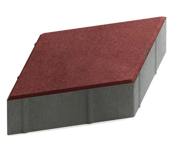 Steingot Практик 60, 200х200х60 мм, Плитка тротуарная ромбовидная частичный прокрас бордовая