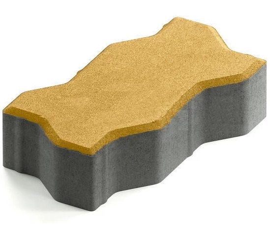 Steingot Практик 60, 225х112.5х60 мм, Плитка тротуарная зигзагообразная частичный прокрас желтая