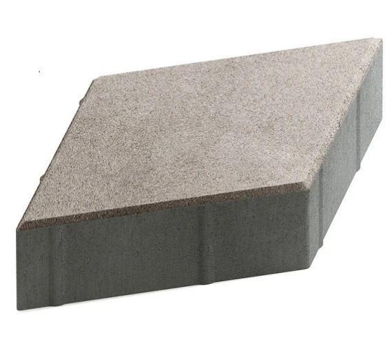 Steingot Практик 60, 200х200х60 мм, Плитка тротуарная ромбовидная частичный прокрас светло-серая