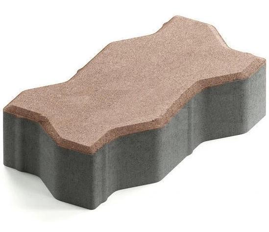 Steingot Практик 60, 225х112.5х60 мм, Плитка тротуарная зигзагообразная частичный прокрас светло-коричневая